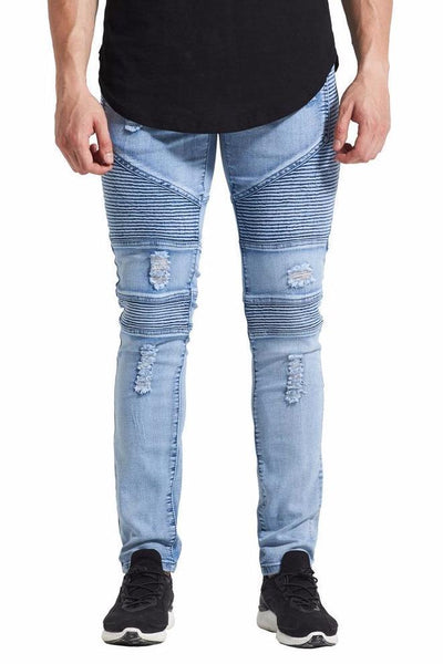 Ribbed Distressed Jeans - BLUE