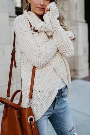 Roll Neck Wrap Sweater