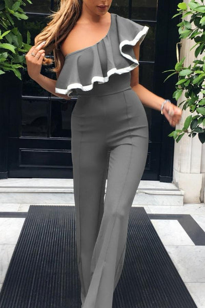 Ruffled One-Shoulder Jumpsuit