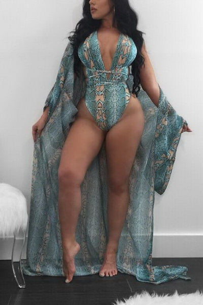Snakeskin Plunging Swimsuit and Cover Up Set