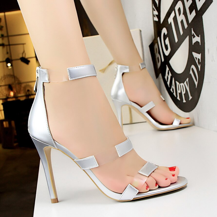 052749240 High Stiletto Heel Peep Toe Ankle Strappy Party Sandals - ICONHUNT