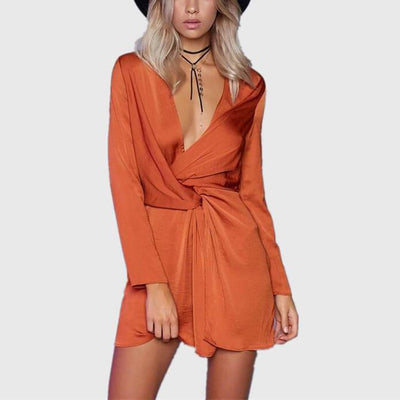 Satin Wrap Plunging Dress
