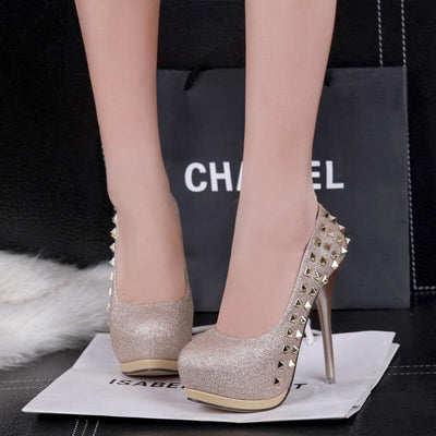 Sequin rivets high-heeled shoes