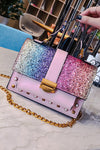 Sequins Rainbow Shaped Chain Bag