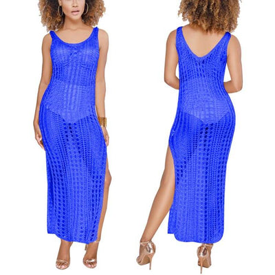 Sexy Beach Cover-up Hollow out Long Beach Dress