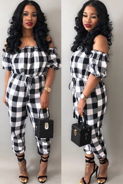 3fabd50ba3d Sexy Checkerboard Jumpsuit Romper - ICONHUNT