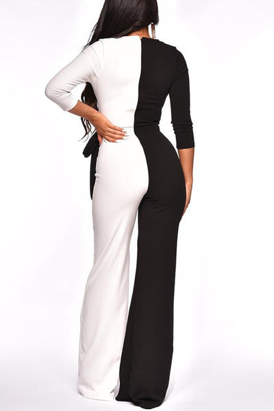 Sexy Color Matching Wide Leg Jumpsuit