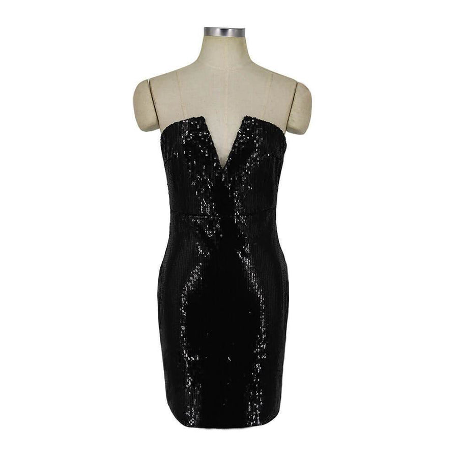 Sexy Deep V Bodycon Sequined Dress