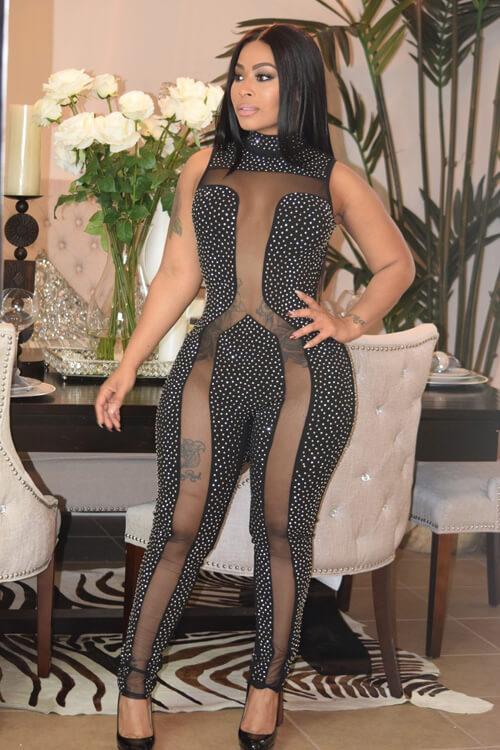 Sexy Nude Women Diamond See-Through Jumpsuits