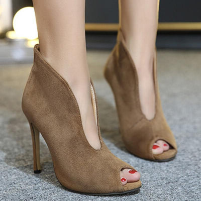 Sexy Piscine Mouth Suede Fashion High-Heeled Shoes