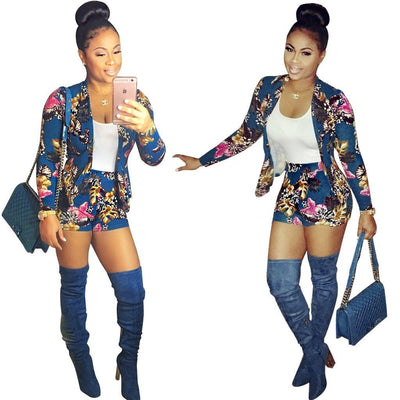 Sexy Printed Long Sleeve Blazer and Shorts Suit