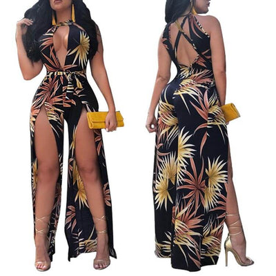 Sexy backless Floral print halter women jumpsuit