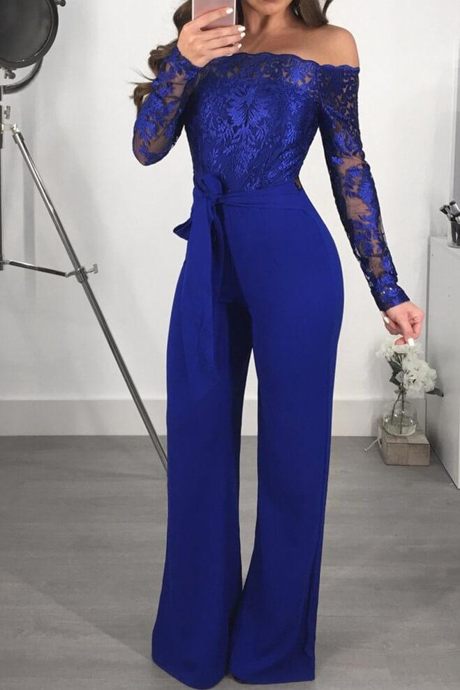 Shoulder Lace High Waist Jumpsuit Rompers