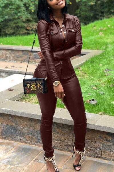 Slim -Leather-Two-Piece-Set