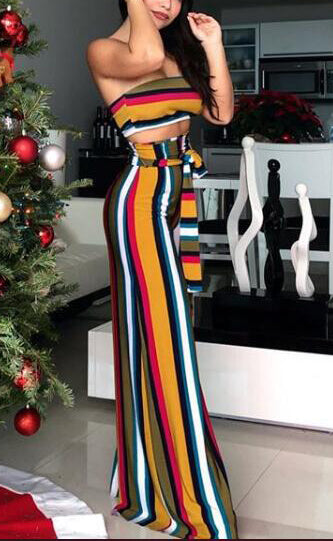 Strapless Wide legs Design Striped Printed Two-Piece Pants Set