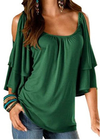 Strapless Double Sleeve Round Collar T-Shirt
