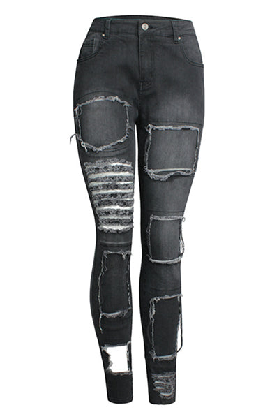 Stretch Slim Ripped Jeans-Black
