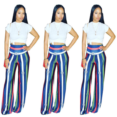 Stripe Printed Wide Leg Pants