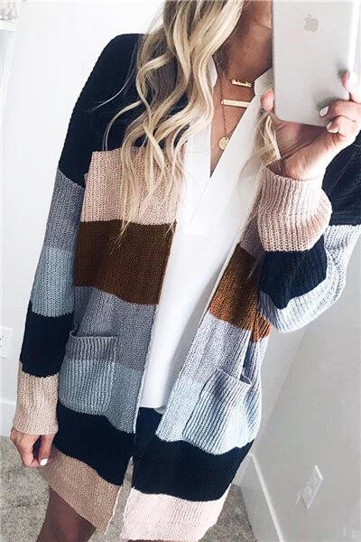 Striped Pocket Sweater Cardigan