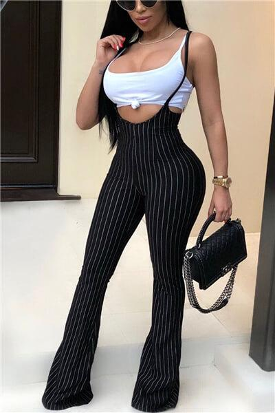 Striped Strap Jumpsuit Cami Set
