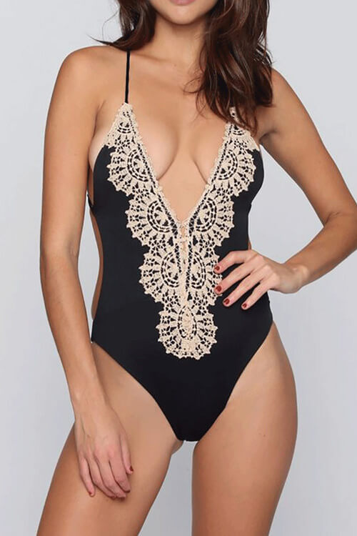 Black Halter Sexy Crochet One Piece Swimsuits