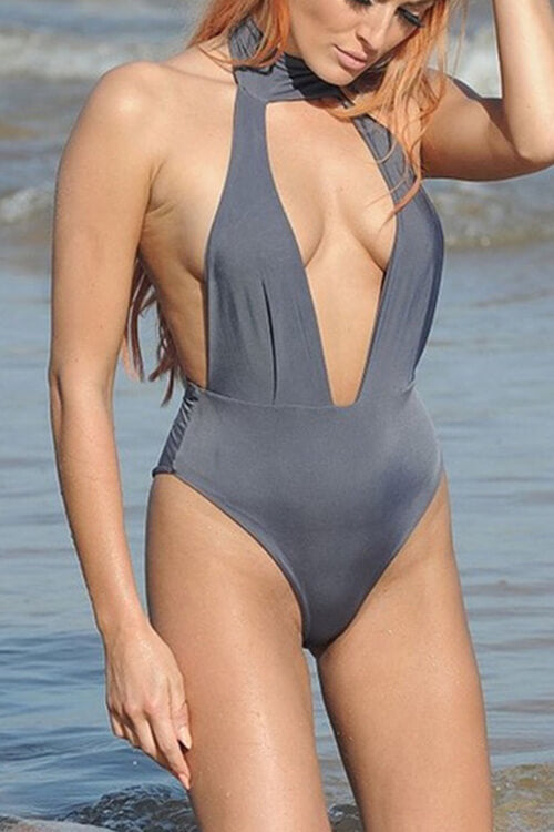 Sexy Bandage Plunge One Piece Swimsuits