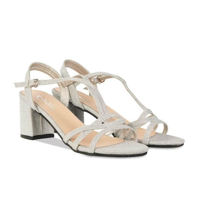 Thick heeled shiny sandals