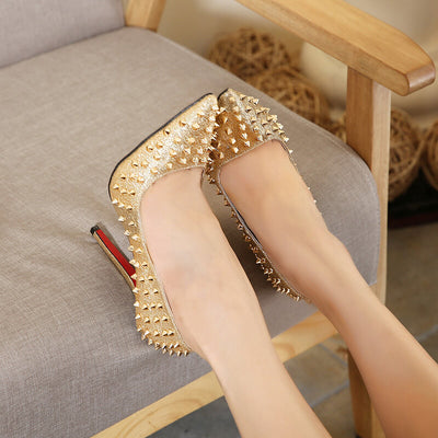 Trendy Pointed Closed Toe Rivets Design Stiletto Super High Heel