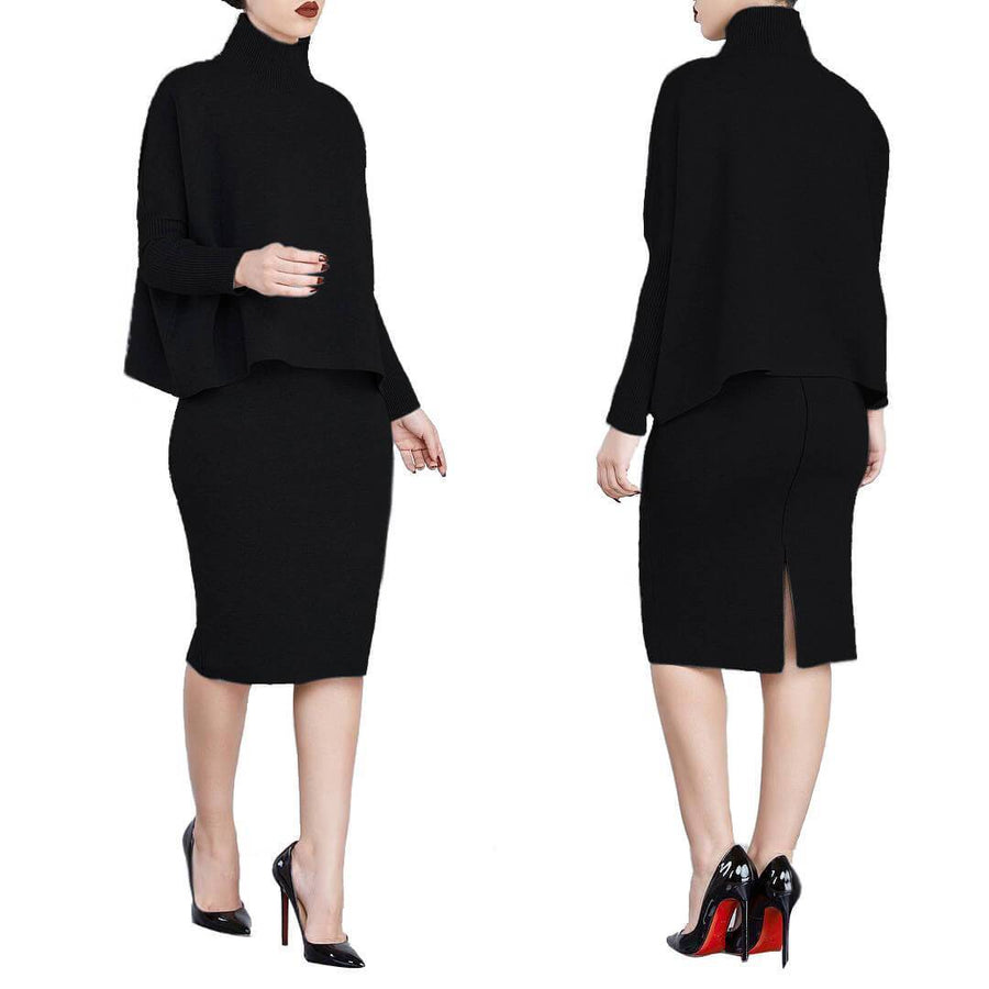 Turtle Neck Top and Skirt Set