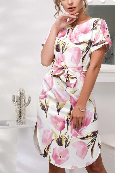 V-Neck Floral Print Side Split Short Sleeve Belted Dress