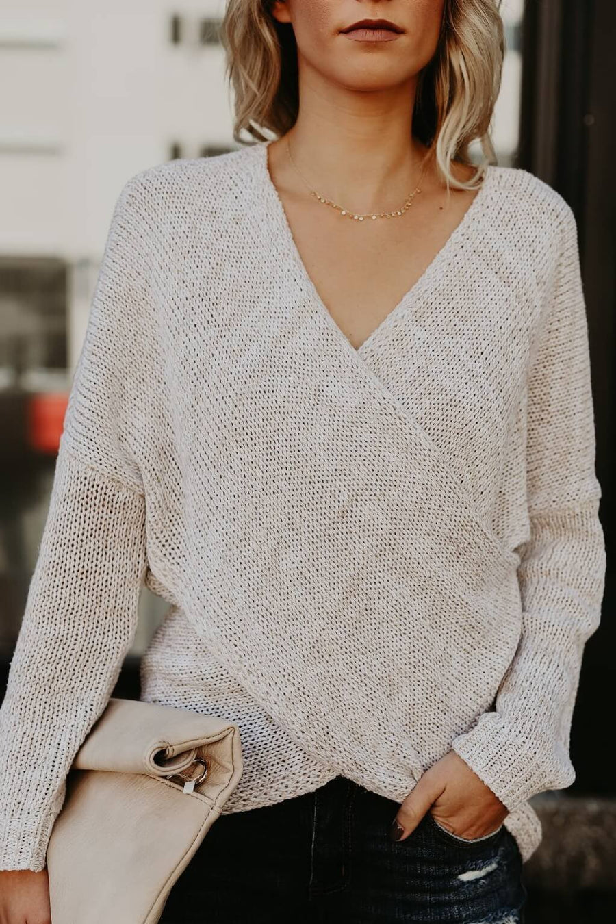 V-Neck Wrap Sweater