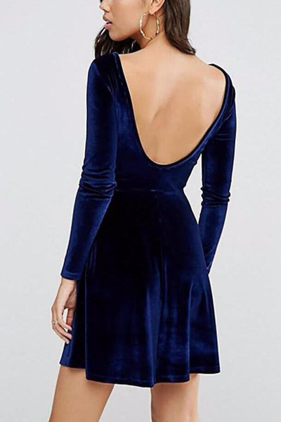 Velvet Backless Dress