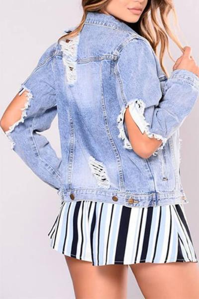 Washed Super Ripped Denim Jacket