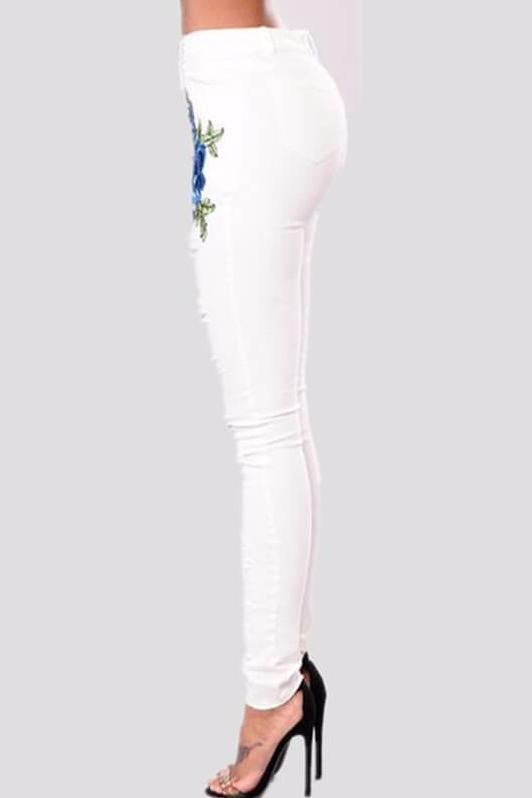 White Embroidered Skinny Jeans