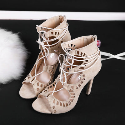 Women's Peep Toe Lace-up Stiletto Gladiator Sandals