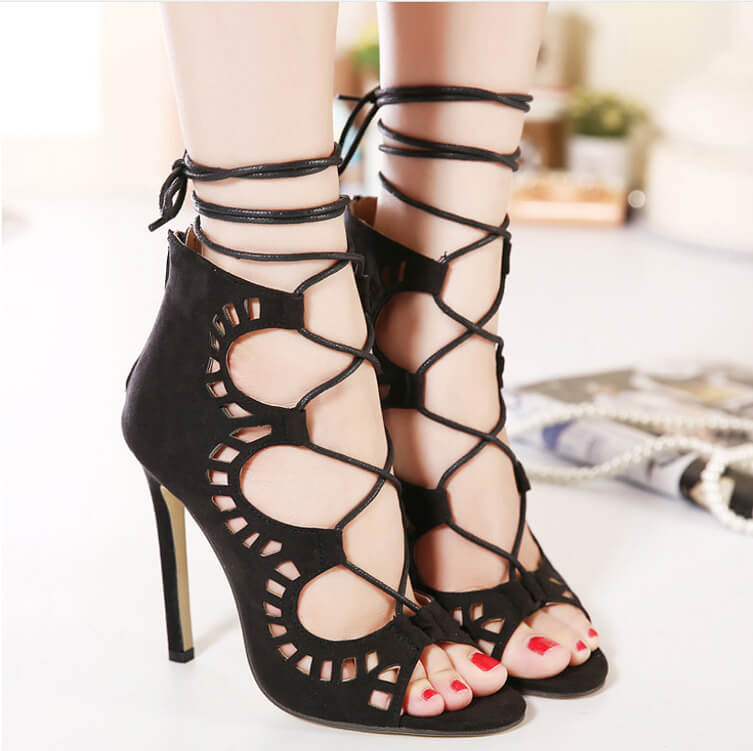 732c288f359 Women s Peep Toe Lace-up Stiletto Gladiator Sandals - ICONHUNT