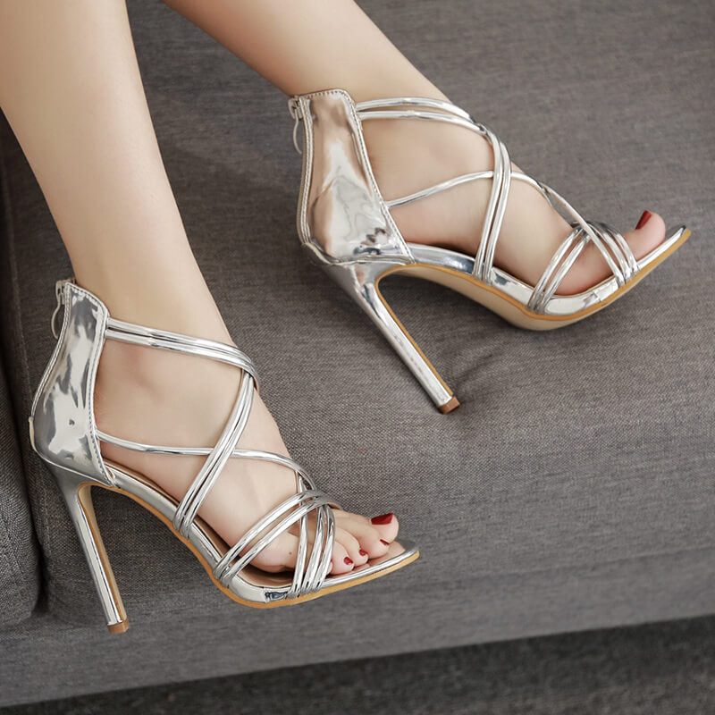 Women's Thin Strap Gladiator Pumps High Heels Sandals