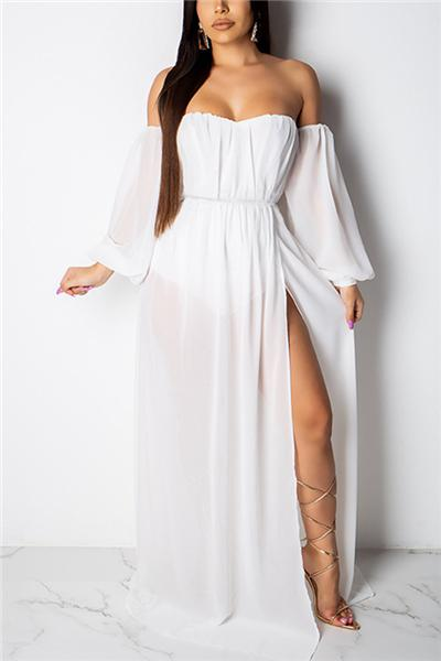 Sweet Off The Shoulder Side Split White Floor Length A Line Dress
