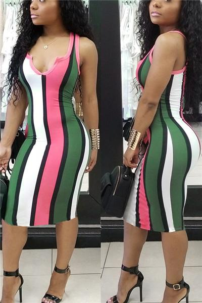 Sleeveless Keyhole Bust Calf-length Striped Dress