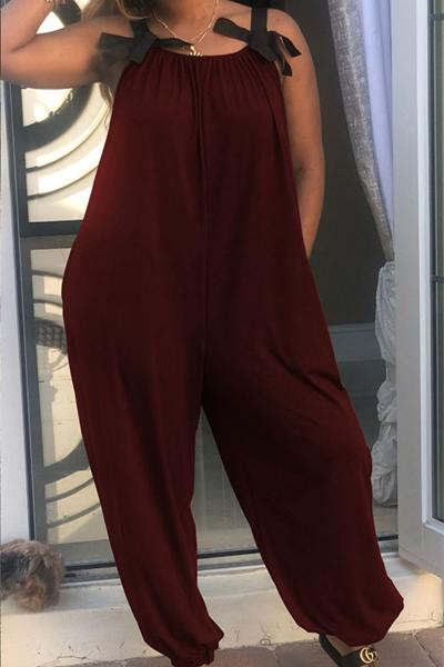 Solid Colored Suspender Jumpsuit