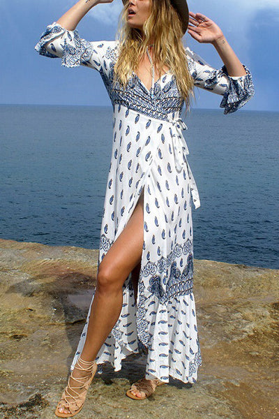 boho chic floral print cotton long sleeve dress