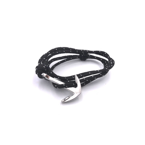 Cord & Anchor Bracelet : Black/Wht