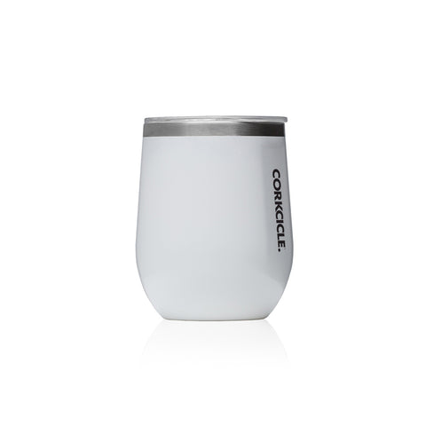12oz Stemless Wine Glass : White