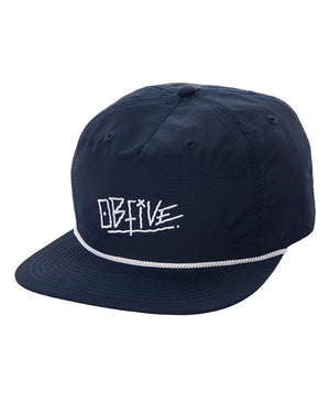 Flat Peak Nylon Snap Back (Navy)