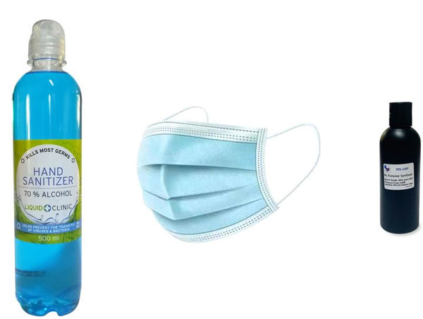 JUNE Promotion Sanitation Set 1. It Consists of 1 x 500 ml 70% Alcohol +1 x 200 ml + 50 Surgical Masks