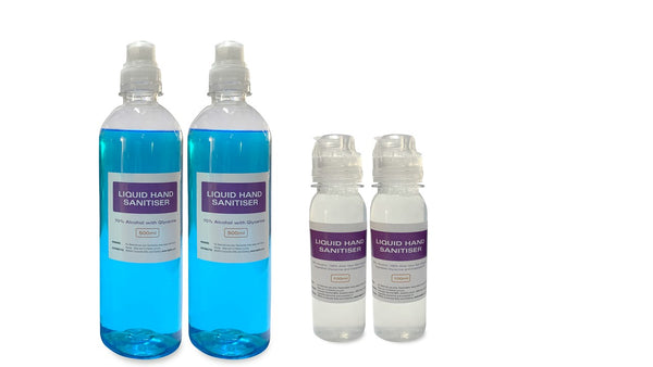 Hand Sanitiser Bundle Consists of 2 x 500 ml with Glycerine +2 x 100 ml  with Aloe Vera Sanitiser Bottles,,Razorbill Goods