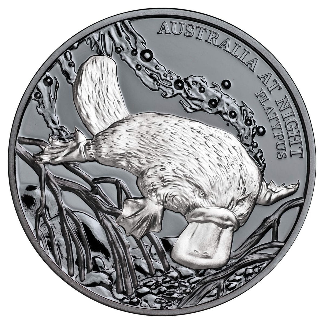 2018 $1 Australia at Night Platypus 1oz Silver Black Proof