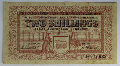 1941 Two Shilling Note - Internment Camp Hay