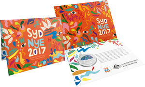 2018 $1 Coloured Fine Silver Frosted Uncirculated Coin - Sydney New Year's Eve