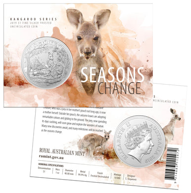 2019 $1 Fine Silver Frosted Uncirculated Coin - Kangaroo Series - Seasons Change